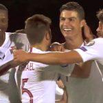 Cristiano Ronaldo teki 4 maalia EM-karsintaottelussa Liettuaa vastaan ja hänen käy kiittäminen toisesta maalistaan pahasti pupeltanutta liettualaismaalivahtia.