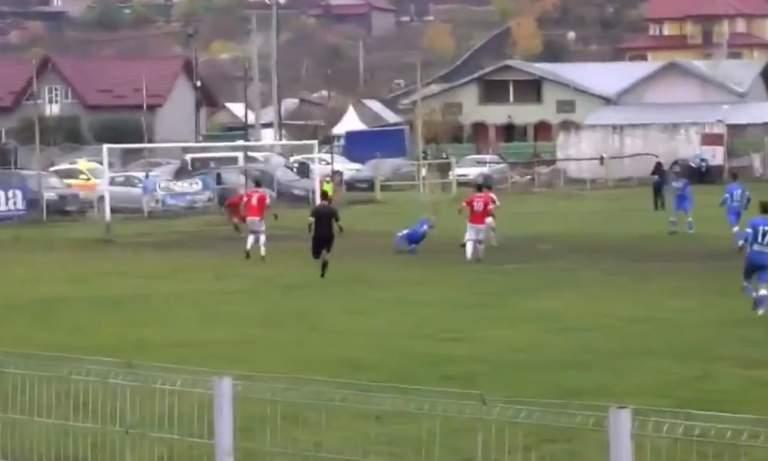 Romanian Liga 3:ssa nähtiin mieletön skorpionipotkumaali.