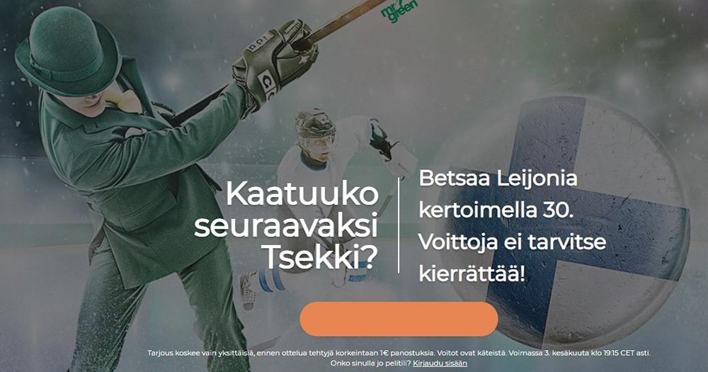 Torstain välierään Suomen ja Tshekin välillä korotettu 30.00 kerroin Suomen voitolle!