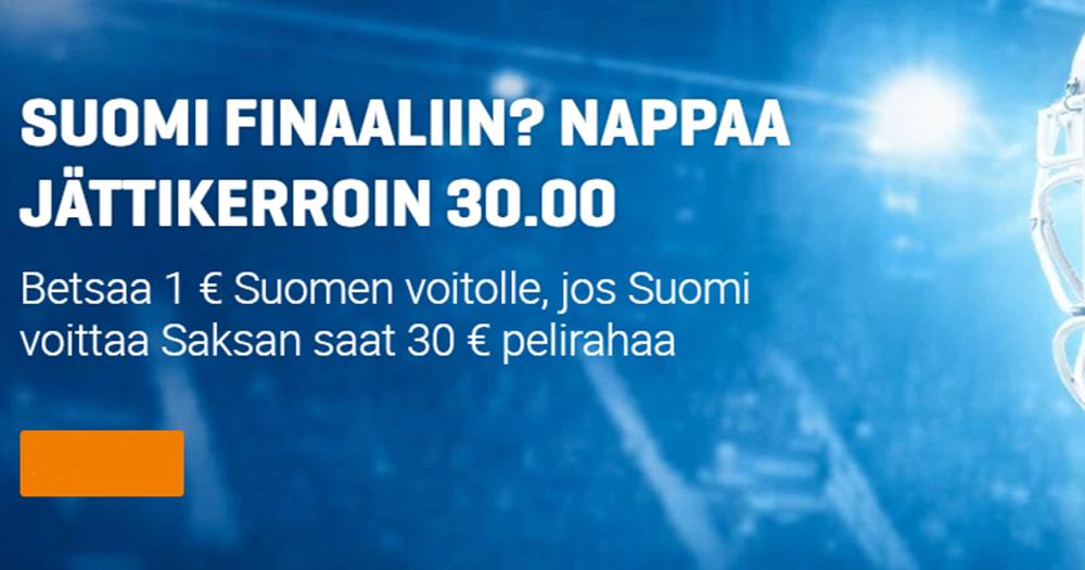 Lauantain Suomen voitolle Saksasta korotetun 30.00 kertoimen lisäksi peräti kolme 50€/100% talletusbonusta